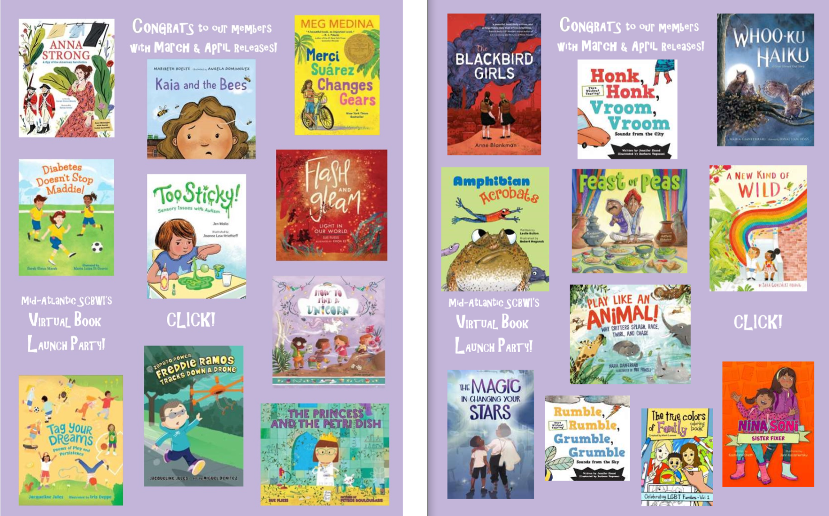 VIRTUAL BOOK LAUNCH PARTY! Celebrating March & April releases of Mid-Atlantic SCBWI members  Meg Medina, author Candlewick Press, April 2020 2019 Newbery award winner now available in paperback! Everything feels different in the sixth grade for Merci Suárez–-and not just at school where queen bee Edna Santos is driving her crazy about Merci's school-assigned Sunshine Buddy, Michael Clark. Her grandfather, Lolo, has been acting strangely, too, but no one in her family will tell her what's going on. Meet the Suárez family and the students of Seaward Pines Academy for a story that gets at the confusion that defines middle school and the steadfast connection of family. Enter to win some swag for MERCI SÚAREZ CHANGES GEARS and RICK by Alex Gino HERE! Purchase your paperback edition HERE.   Sarah Glenn Marsh, author Sarah Green, illustrator Abrams, March 2020 The thrilling true story of one brave woman who, with bravery and wit and some strategically placed laundry, helped save the American Revolution. The book includes a spy code so kids can get involved in the action.